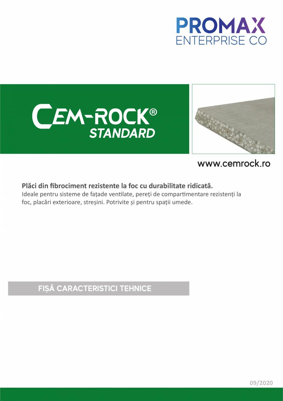 Pagina 1 - Placi din fibrociment CEM-ROCK CemRock standard Fisa tehnica Romana STANDARD www.cemrock....