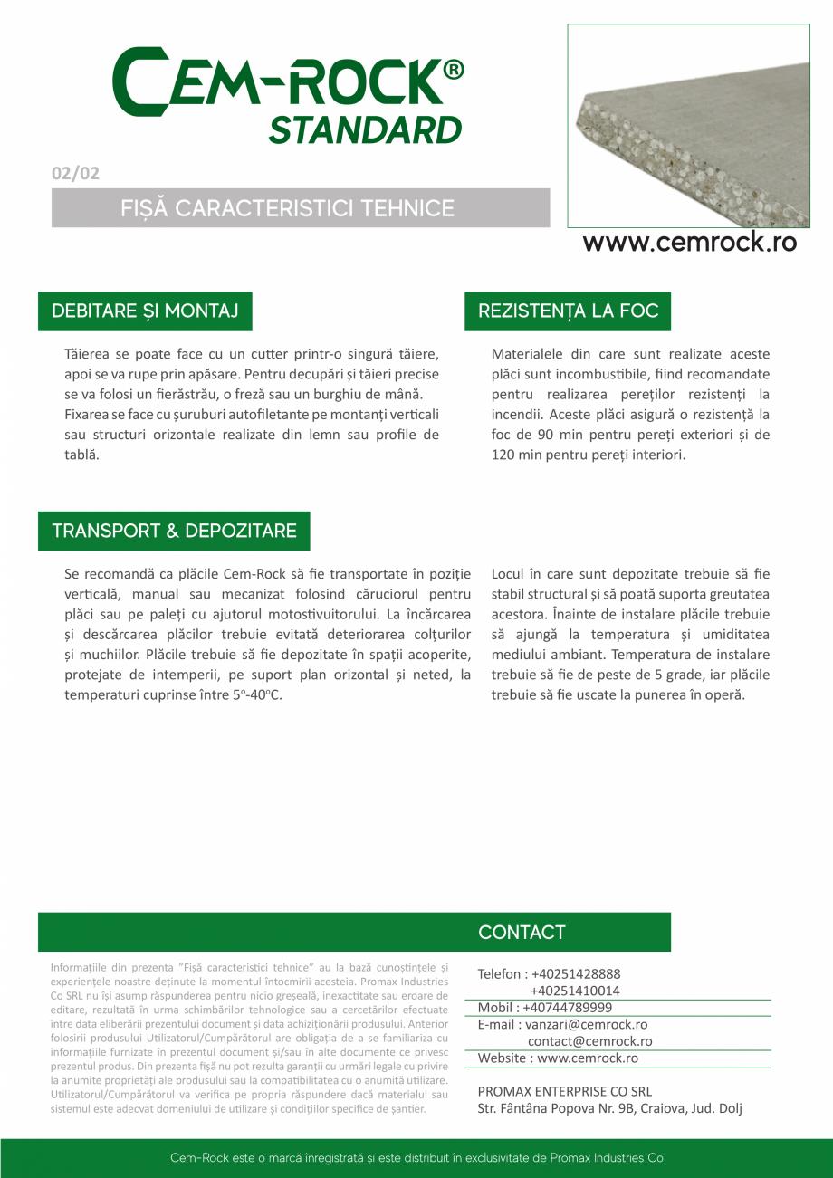 Pagina 3 - Placi din fibrociment CEM-ROCK CemRock standard Fisa tehnica Romana  umiditate și...