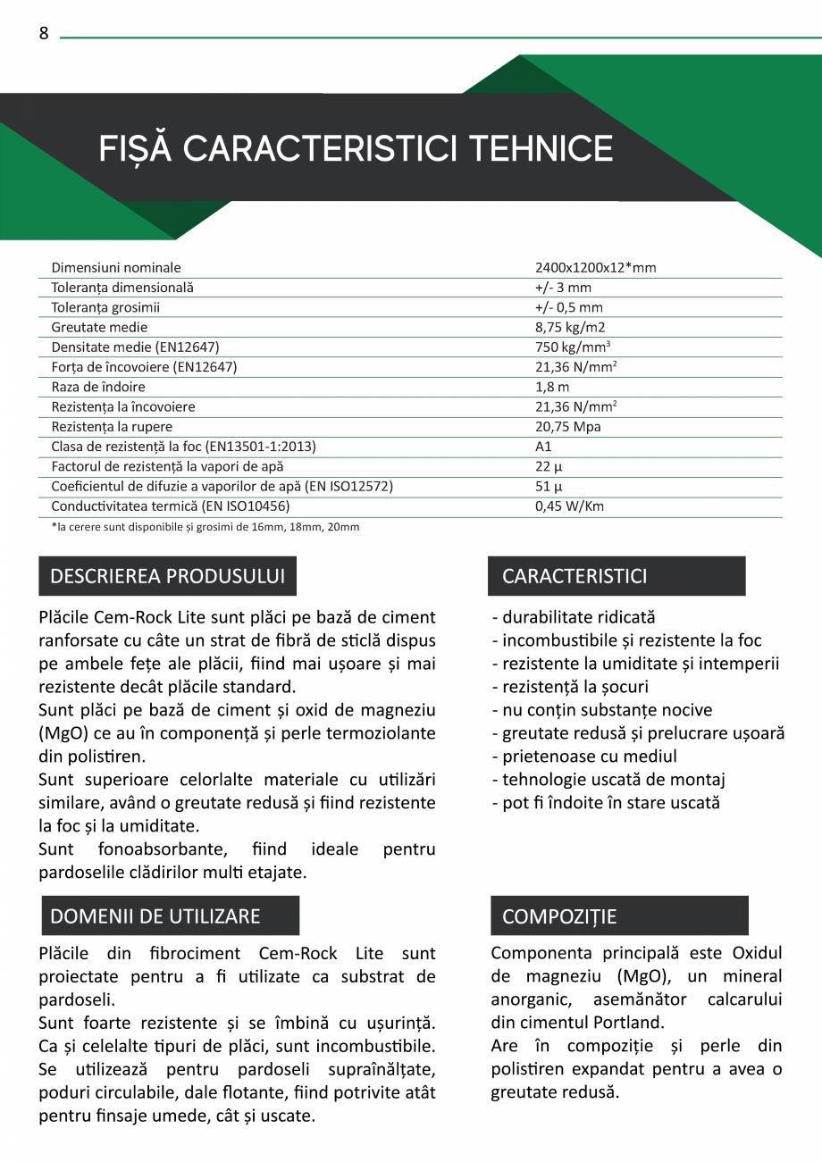 Pagina 10 - Catalog de prezentare Cem-Rock CEM-ROCK CemRock Extreme, Cemrock Lite, CemRock standard ...