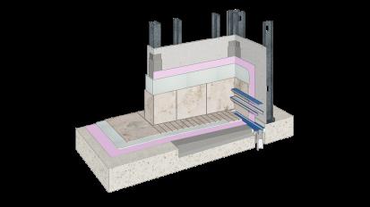 Cemrock Lite - Perete baie (zona dus) placi fibrociment pe structura metalica Cemrock Lite Placi din