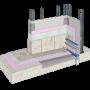 Cemrock Lite - Perete baie (zona dus) placi fibrociment pe structura metalica