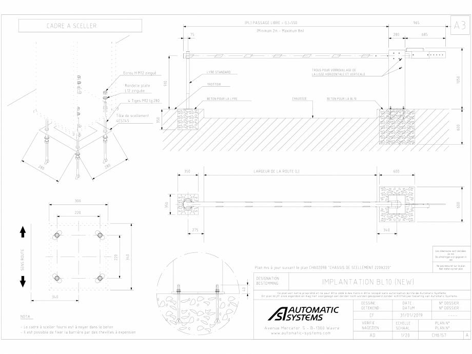 Pagina 1 - CAD-DWG Detalii bariera BL 10 CH-CAO-FR-1 Automatic Systems Detaliu de produs