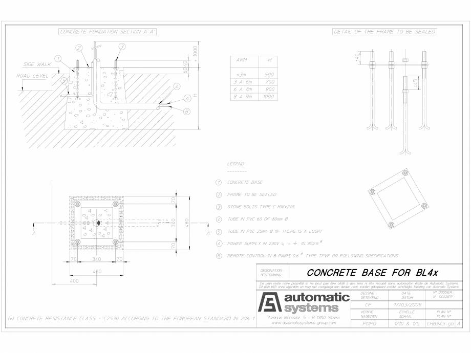 Pagina 1 - CAD-DWG Detalii bariera BL43 CH-CAO-EN-1 Automatic Systems Detaliu de produs BL 43