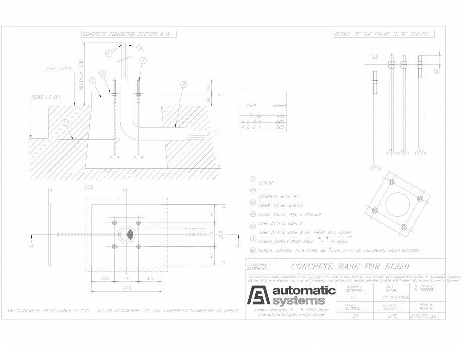 Pagina 1 - CAD-DWG Detalii bariera BL 229 CH-CAO-EN-0 Automatic Systems Detaliu de produs