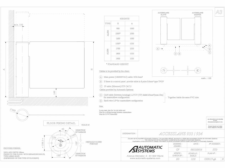 Pagina 1 - CAD-DWG Bariera oscilanta Automatic Systems Detaliu de produs ACCESSLANE 934
