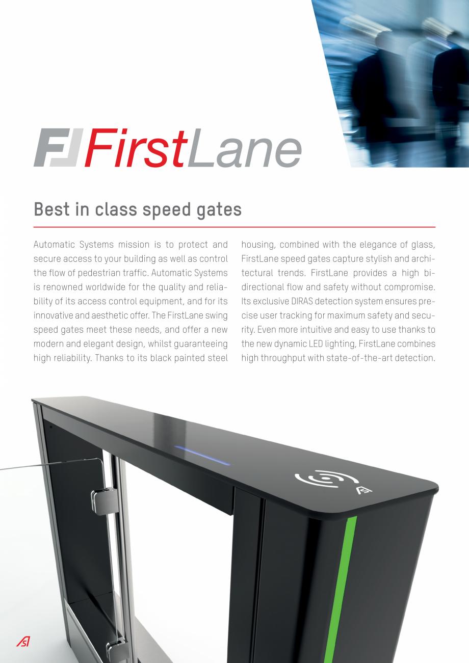 Pagina 2 - Porti batante Automatic Systems FIRSTLANE Catalog, brosura Engleza TECHNOLOGIES ...