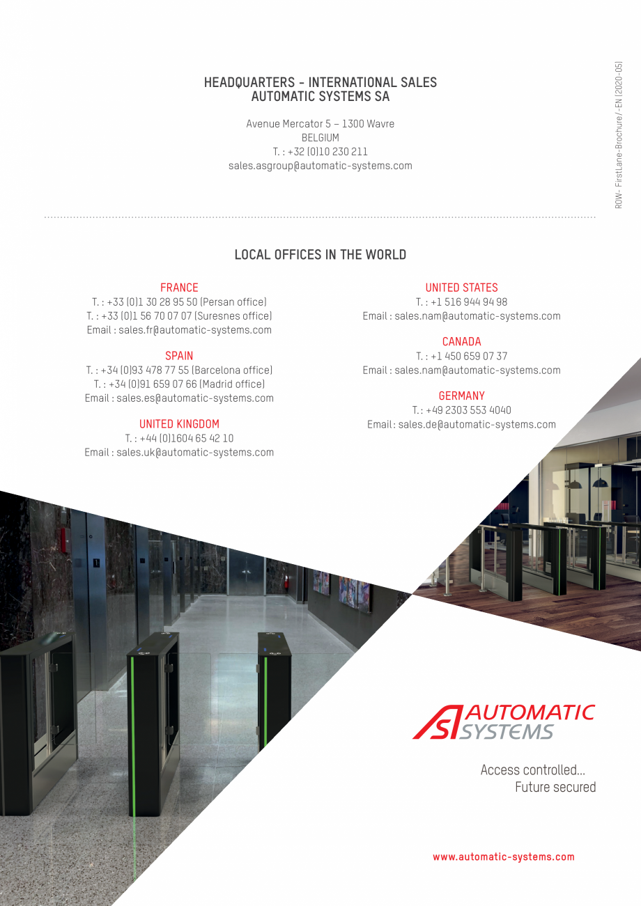 Pagina 8 - Porti batante Automatic Systems FIRSTLANE Catalog, brosura Engleza 5 42 10 Email : sales....