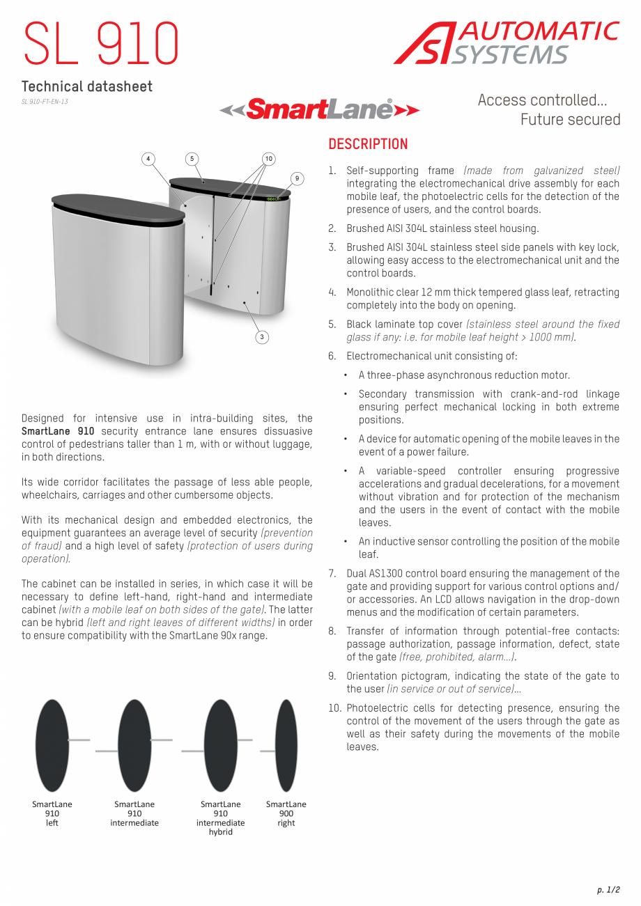 Pagina 1 - Specificatii tehnice - Porti glisante  Automatic Systems SMARTLANE 910 Fisa tehnica...