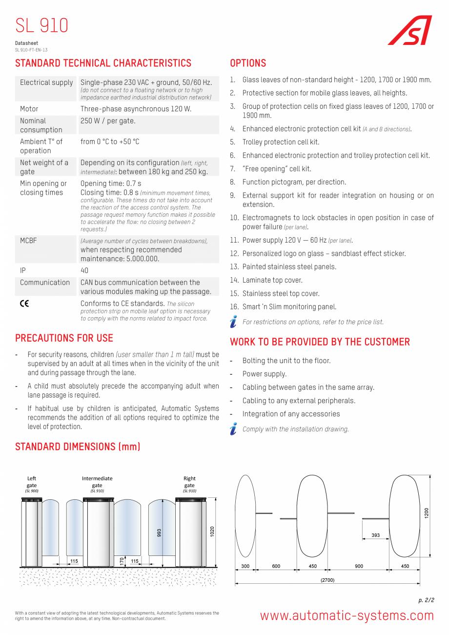 Pagina 2 - Specificatii tehnice - Porti glisante  Automatic Systems SMARTLANE 910 Fisa tehnica...