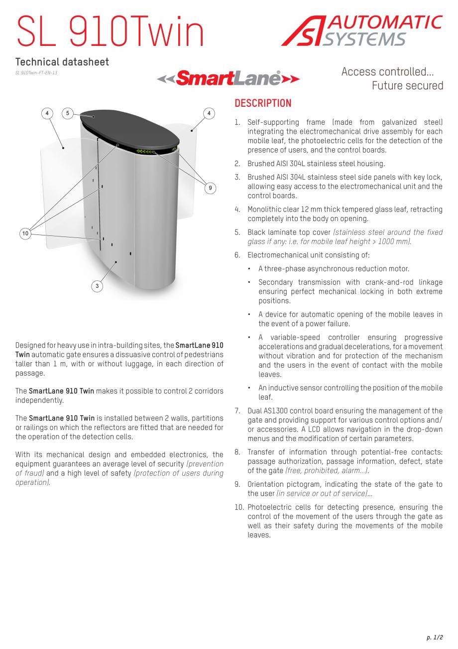 Pagina 1 - Specificatii tehnice - Porti glisante Automatic Systems SMARTLANE 910 TWIN Fisa tehnica...