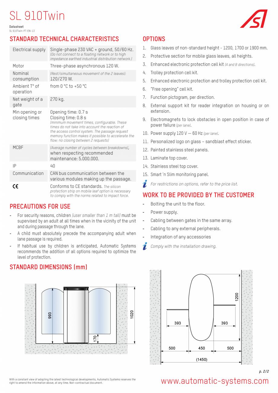 Pagina 2 - Specificatii tehnice - Porti glisante Automatic Systems SMARTLANE 910 TWIN Fisa tehnica...