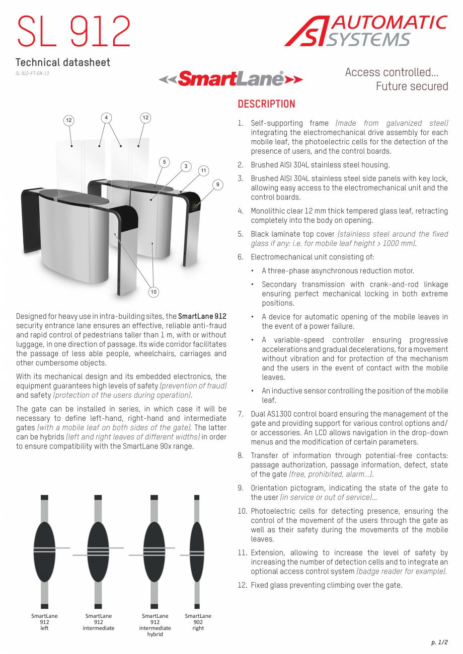 Pagina 1 - Specificatii tehnice - Porti glisante Automatic Systems SMARTLANE 912 Fisa tehnica...