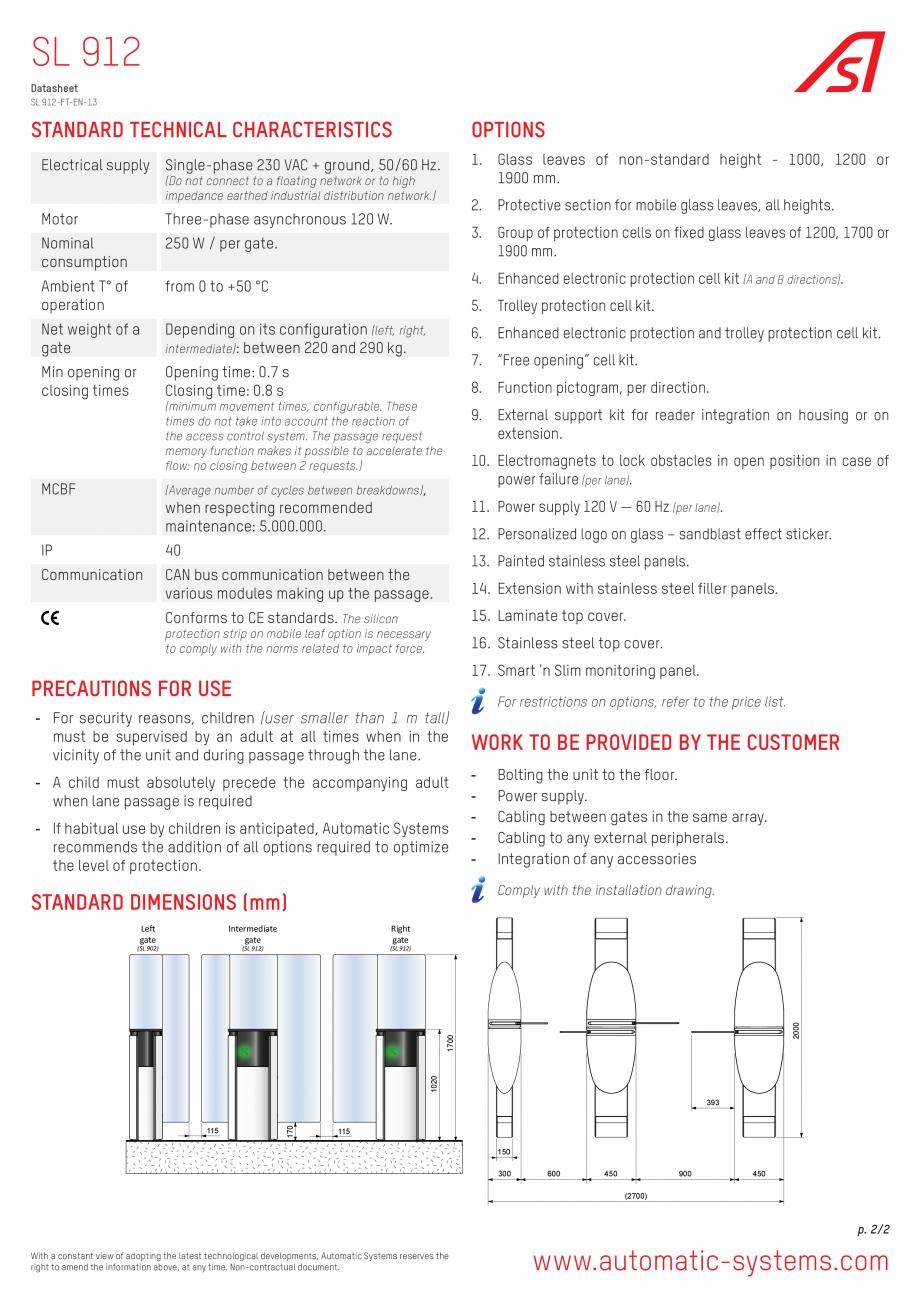 Pagina 2 - Specificatii tehnice - Porti glisante Automatic Systems SMARTLANE 912 Fisa tehnica...