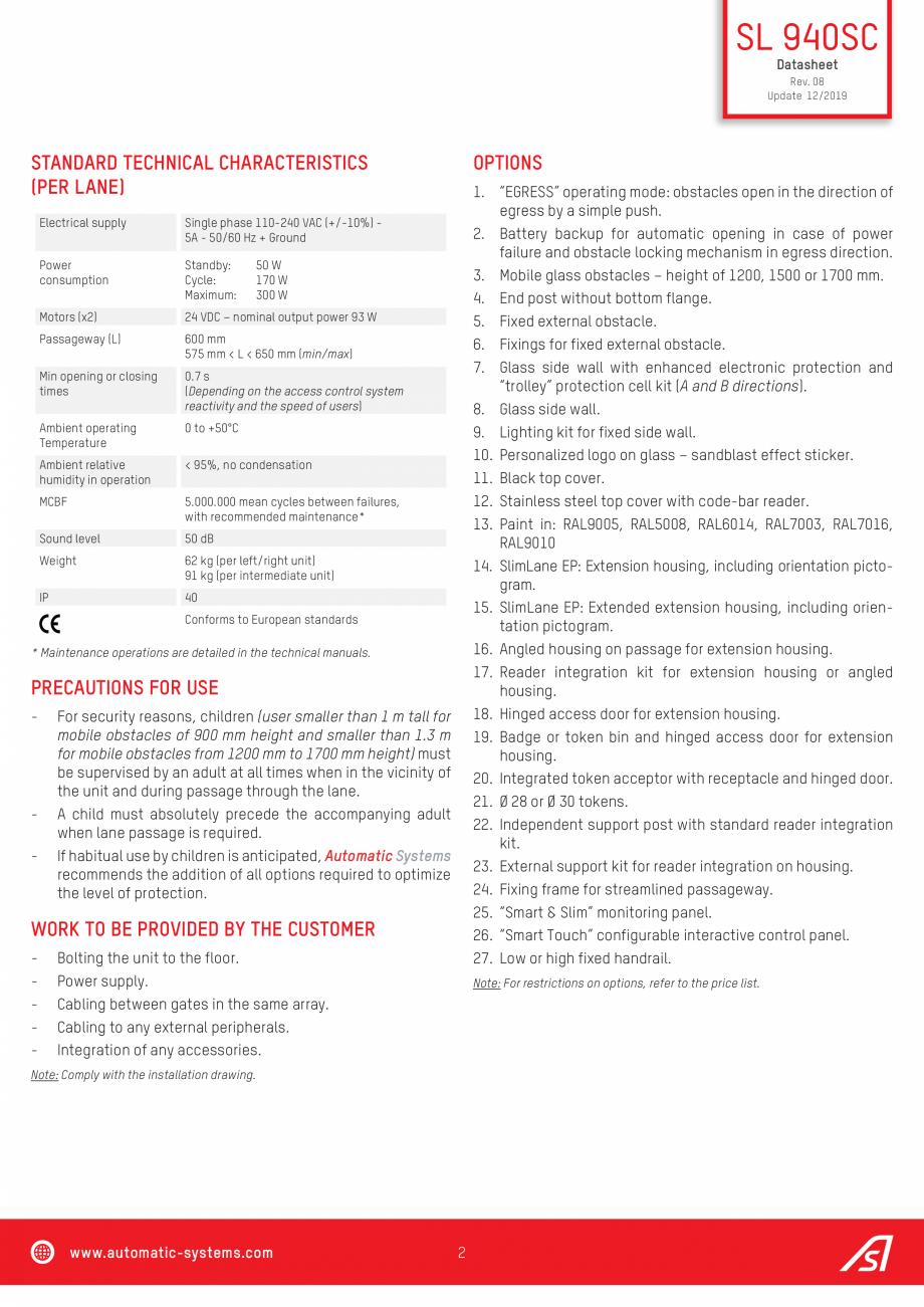 Pagina 2 - Specificatii tehnice  - Porti batante - SLIMLANE 940 SC Automatic Systems SLIMLANE 940 / ...