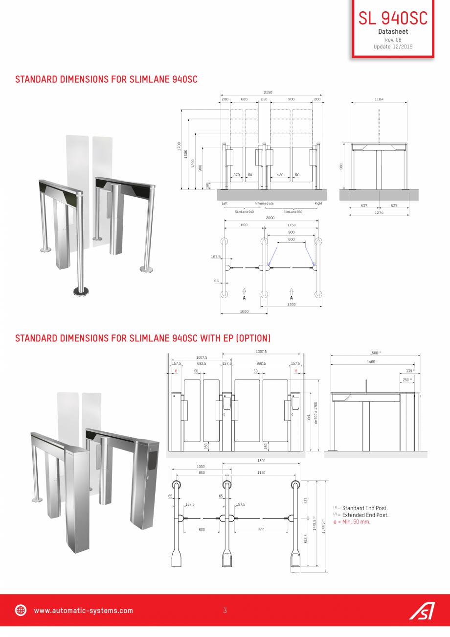 Pagina 3 - Specificatii tehnice  - Porti batante - SLIMLANE 940 SC Automatic Systems SLIMLANE 940 / ...