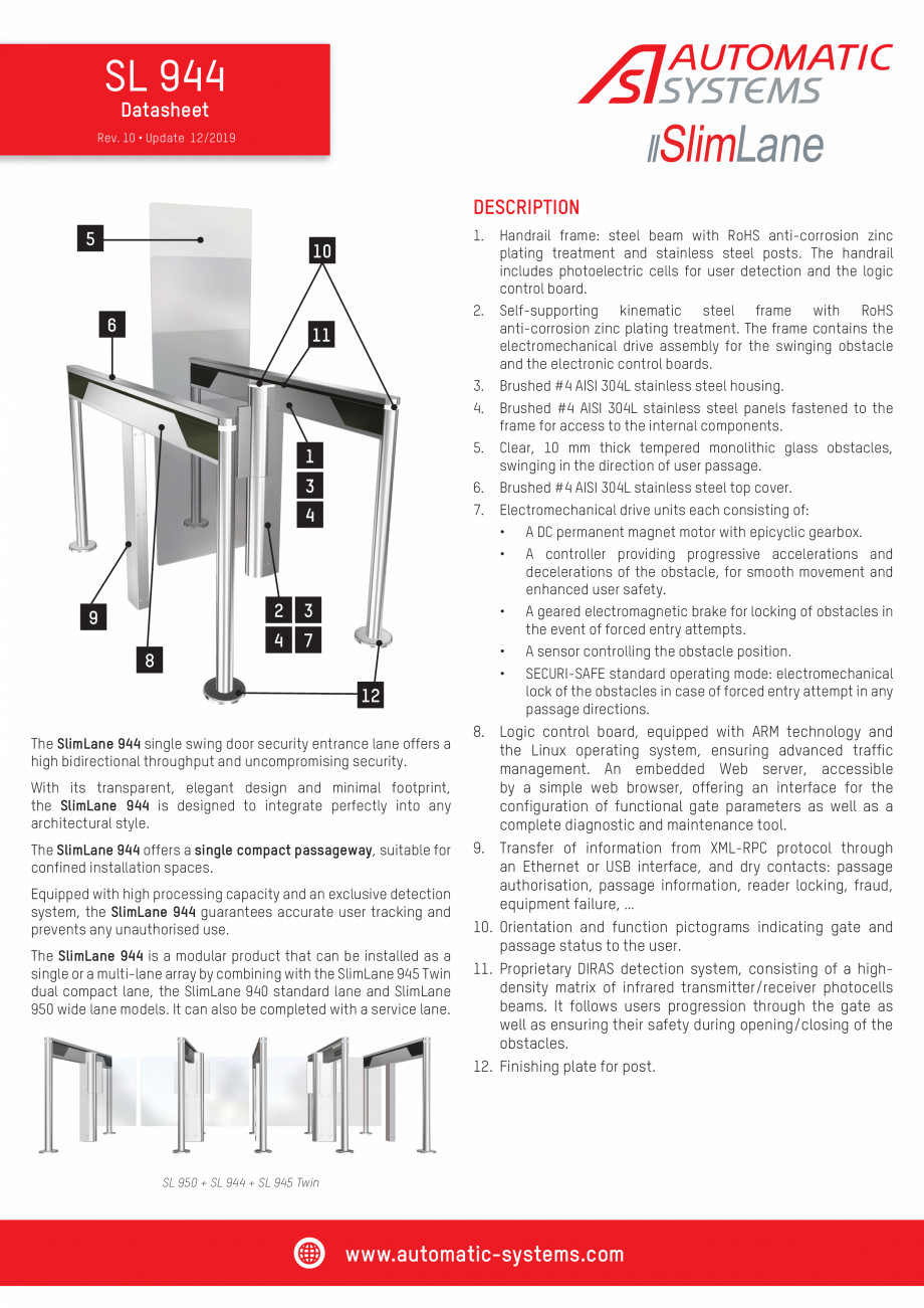 Pagina 1 - Specificatii tehnice - Porti batante - SLIMLANE 944 SC Automatic Systems SLIMLANE 944 /...