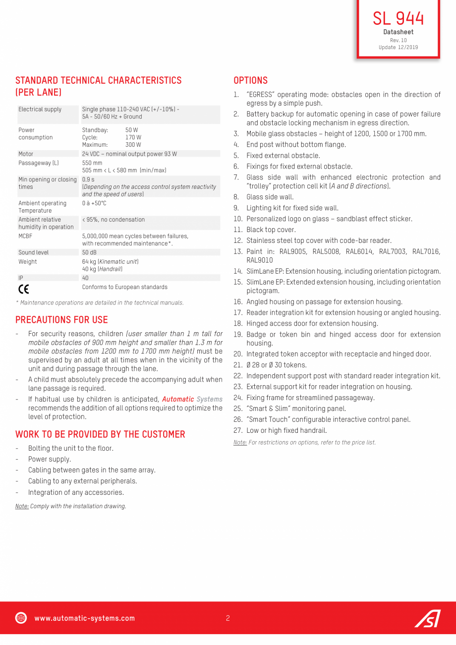 Pagina 2 - Specificatii tehnice - Porti batante - SLIMLANE 944 SC Automatic Systems SLIMLANE 944 /...