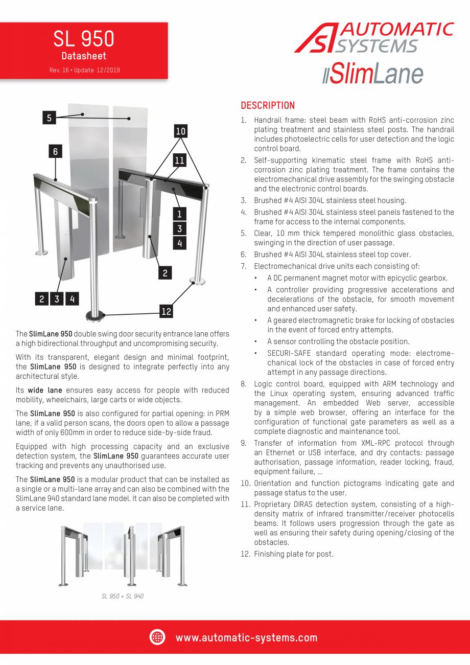 Pagina 1 - Specificatii tehnice - Porti batante - SLIMLANE 950 Automatic Systems SLIMLANE 950 /...