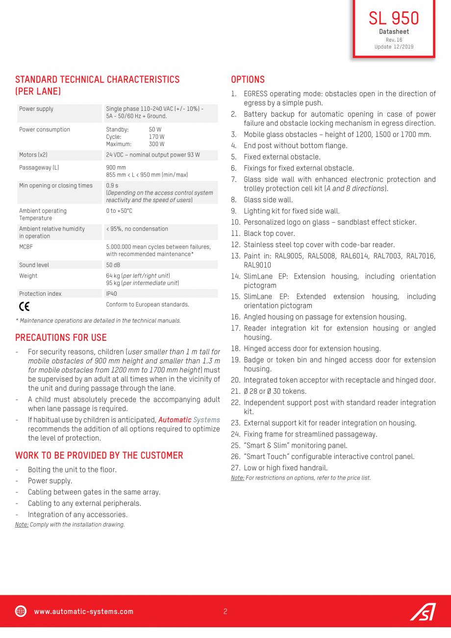 Pagina 2 - Specificatii tehnice - Porti batante - SLIMLANE 950 Automatic Systems SLIMLANE 950 /...
