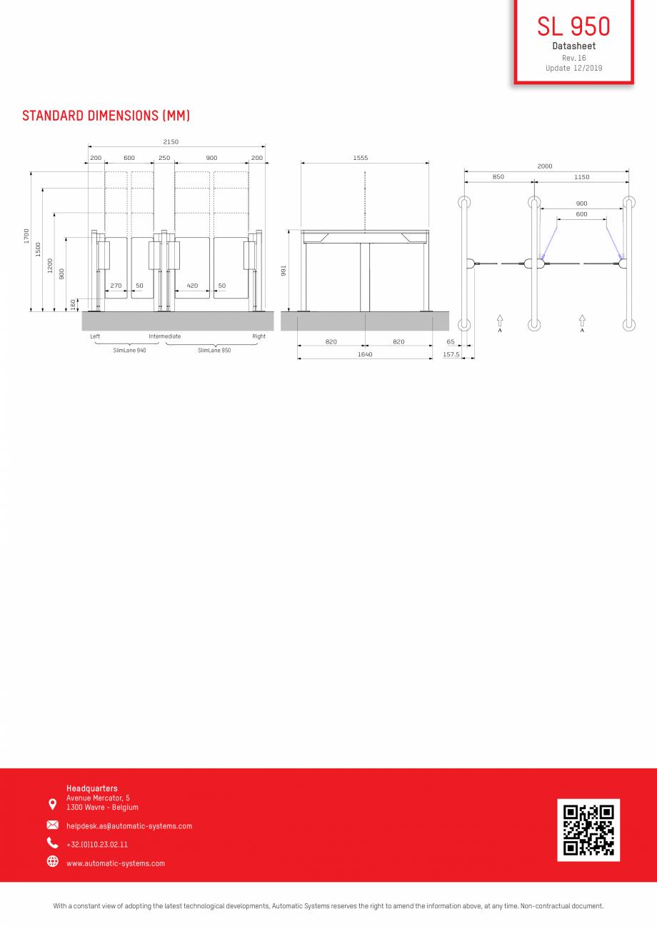 Pagina 3 - Specificatii tehnice - Porti batante - SLIMLANE 950 Automatic Systems SLIMLANE 950 /...