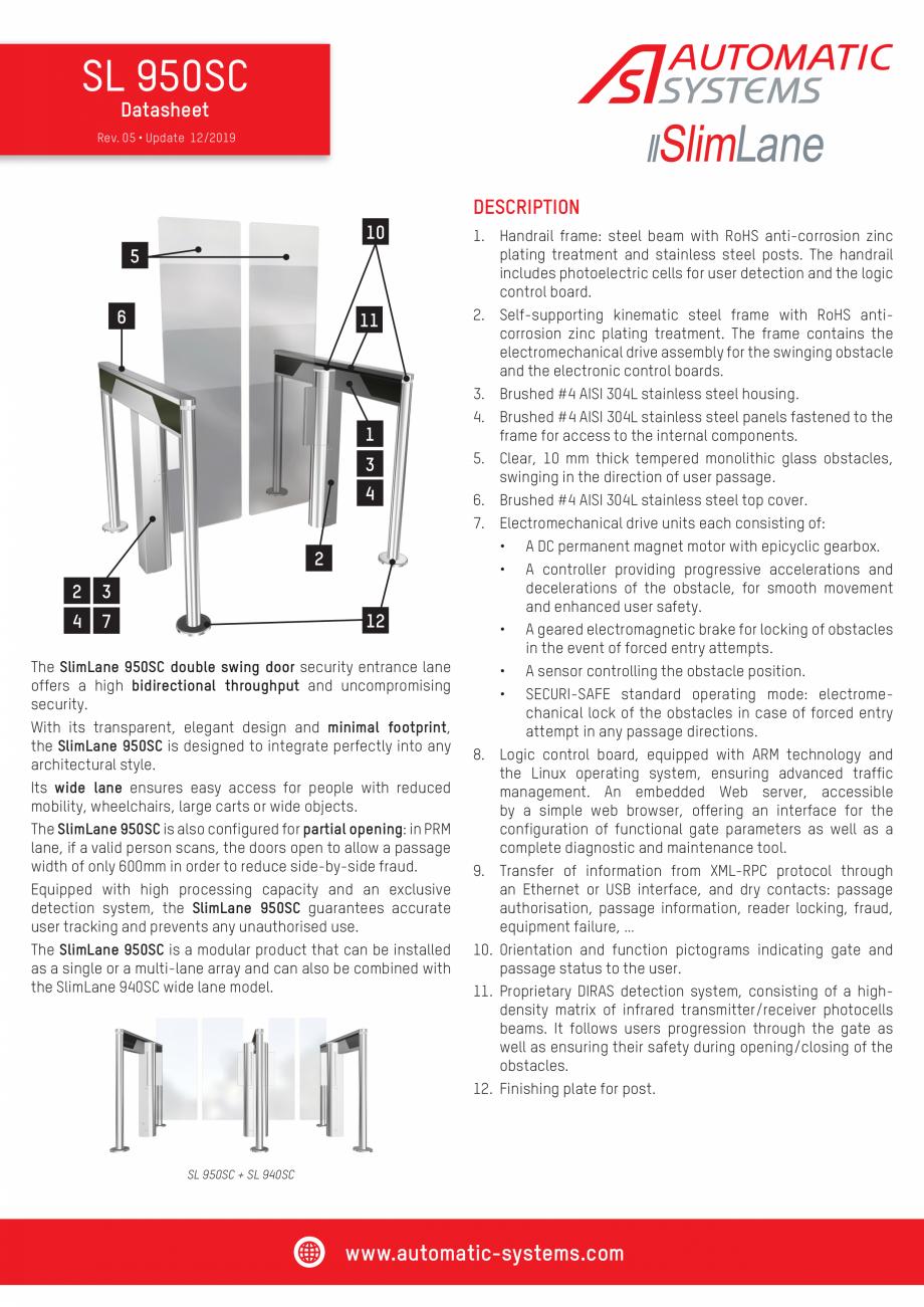 Pagina 1 - Specificatii tehnice - Porti batante - SLIMLANE 950 SC Automatic Systems SLIMLANE 950 /...