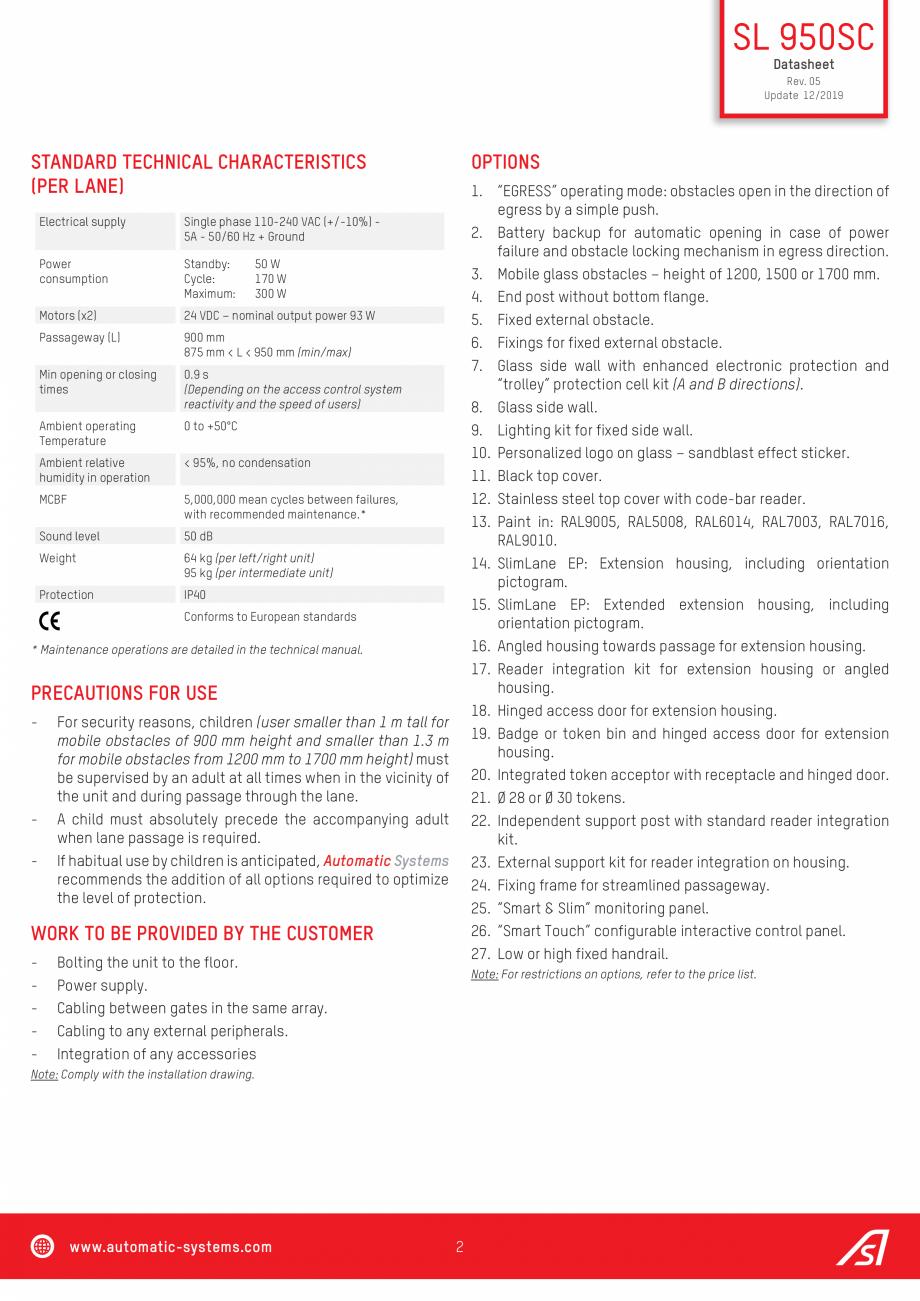 Pagina 2 - Specificatii tehnice - Porti batante - SLIMLANE 950 SC Automatic Systems SLIMLANE 950 /...