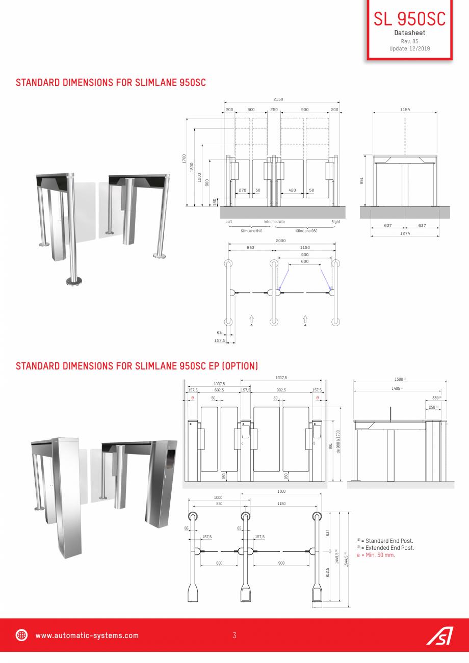 Pagina 3 - Specificatii tehnice - Porti batante - SLIMLANE 950 SC Automatic Systems SLIMLANE 950 /...