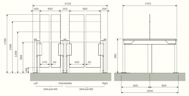 Schiță dimensiuni Portile batante - SLIMLANE 940 / 940SC