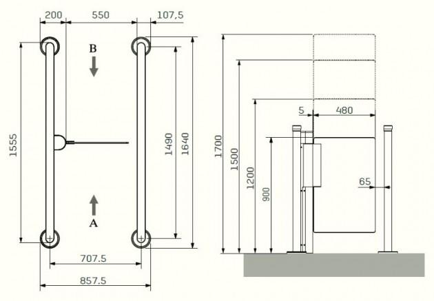Schiță dimensiuni Porti batante - SLIMLANE 944 / 944SC