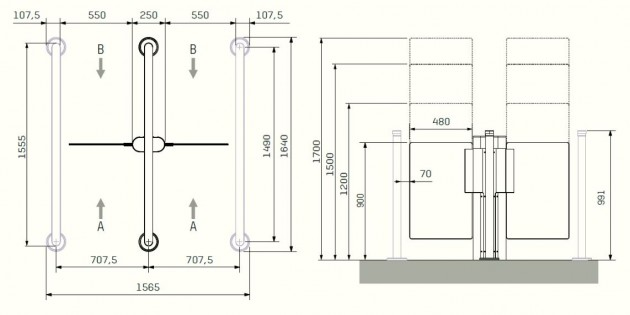 Schiță dimensiuni Porti batante - SLIMLANE 945 TWIN / 945SC TWIN