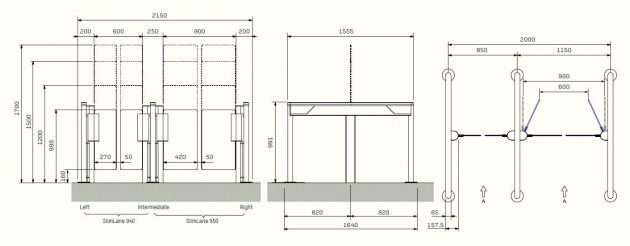 Schiță dimensiuni Porti batante - SLIMLANE 950 / 950SC
