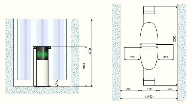 Schiță dimensiuni Porti glisante - SMARTLANE 912 TWIN
