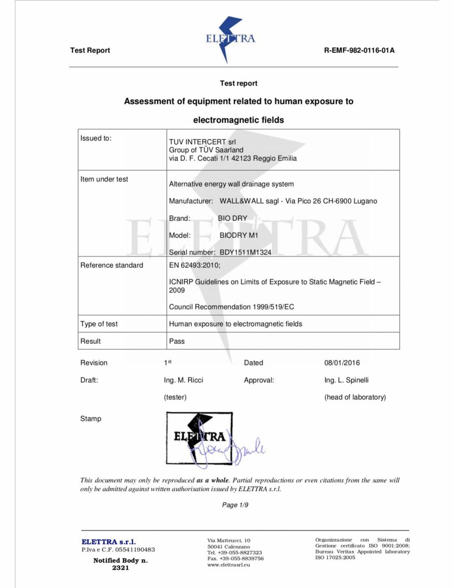 Pagina 1 - Certificat de conformitate ELETTRA pentru BioDry  Certificare produs Engleza