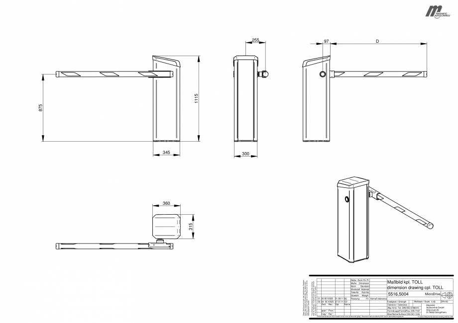 Pagina 1 - CAD-PDF Dimensiuni bariera Toll Magnetic Control Detaliu de produs Magnetic Toll