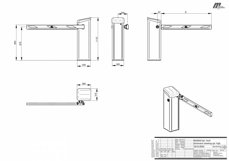 Pagina 1 - CAD-PDF Dimensiuni bariere Magnetic Control Detaliu de produs