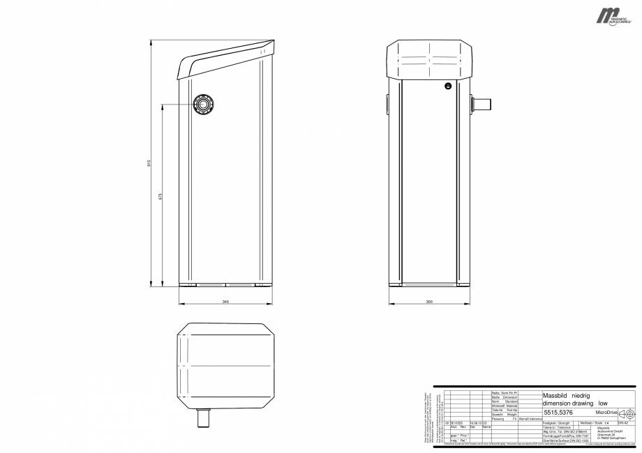Pagina 1 - CAD-PDF Dimensiuni bariere automate Magnetic Control Detaliu de produs