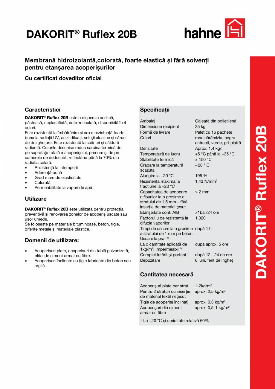 Pagina 1 - Invelis colorat pentru acoperisuri Hahne DAKORIT® Ruflex 20B Fisa tehnica Romana...