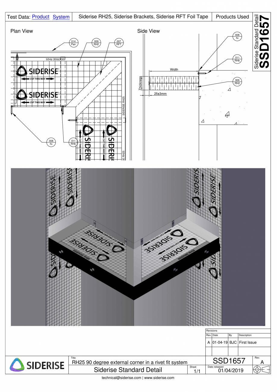 Pagina 1 - CAD-PDF Montare bariera Siderise RH25 intr-un colt extern - SSD1657-A Siderise Detaliu de...