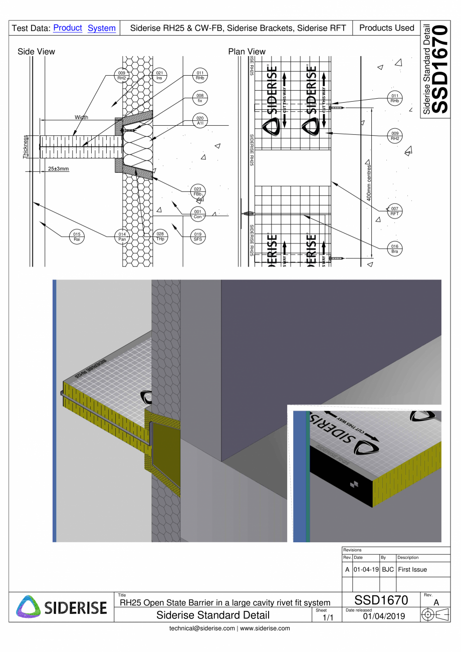 Pagina 1 - CAD-PDF Montarea barierei Siderise RH25 intr-o cavitate mare - SSD1670-A Siderise Detaliu...