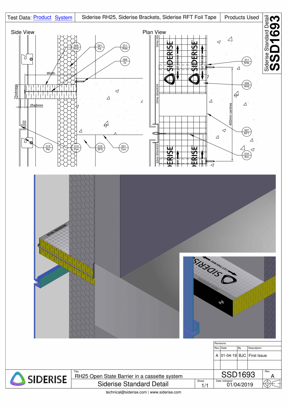 Pagina 1 - CAD-PDF Bariera Siderise RH25 intr-un sistem de caseta de fatada - SSD1693-A Siderise...