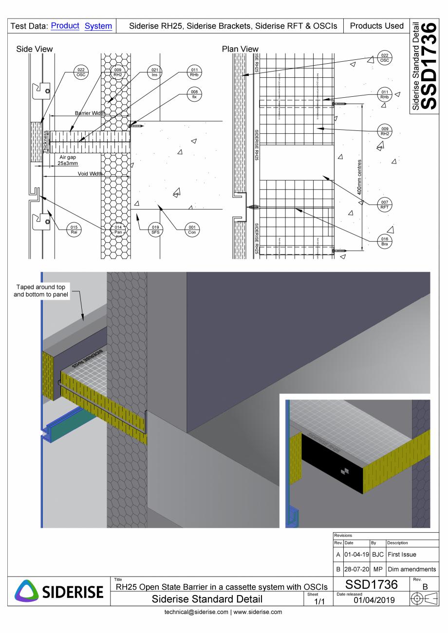 Pagina 1 - CAD-PDF Bariera Siderise RH25 intr-un sistem de caseta de fatada - SSD1736-B Siderise...