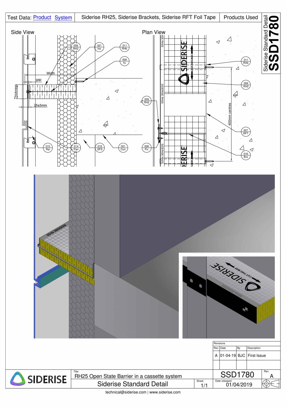 Pagina 1 - CAD-PDF Bariera Siderise RH25 intr-un sistem de caseta de fatada  - SSD1780-A Siderise...
