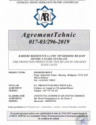 Agrement Tehnic 017-03 296-2019 - Bariere rezistente la foc tip Siderise RH si RV pentru fatade