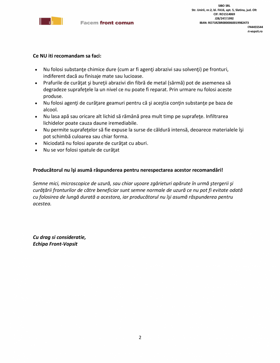 Pagina 2 - Instructiuni generale de intretinere fronturi vopsite Sibo Instructiuni montaj, utilizare...