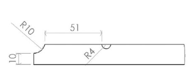 Schiță dimensiuni Front din MDF vopsit - model Canto