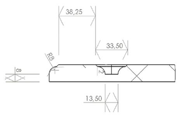 Schiță dimensiuni Front din MDF vopsit - model CORNERA