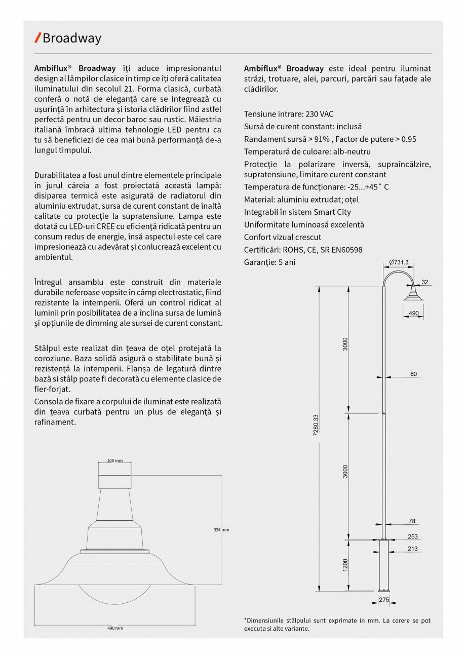 Pagina 5 - Brosura - Stalp - si  lampa - Ambiflux Broadway  Catalog, brosura Romana