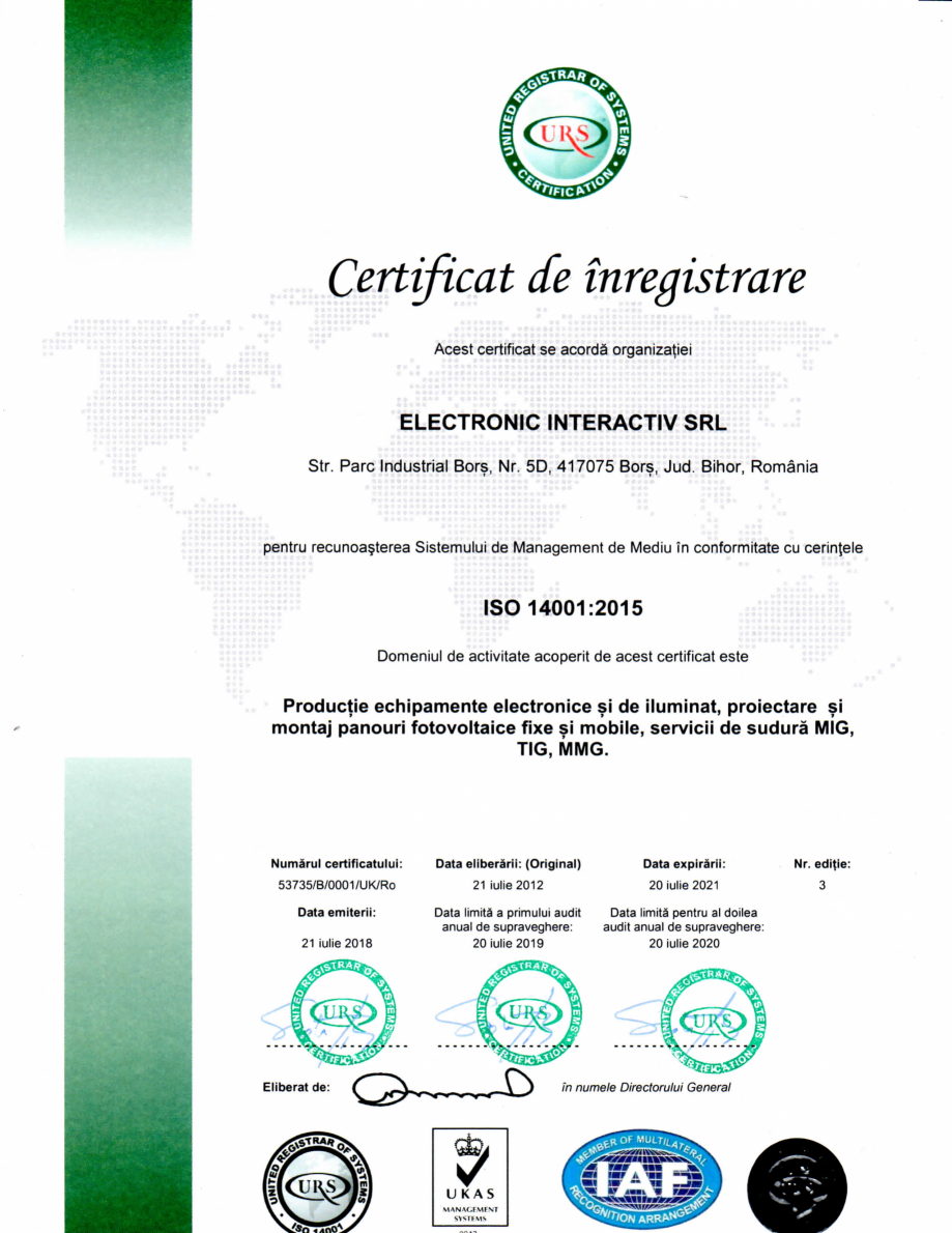Pagina 1 - Certificat ISO 14001-2015 - Productie echipamente electronice si de iluminat, proiectare ...