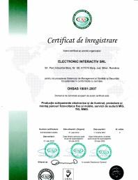 Certificat ISO 18001-2007 - Productie echipamente electronice si de iluminat proiectare si montaj panouri fotovoltaice fixe