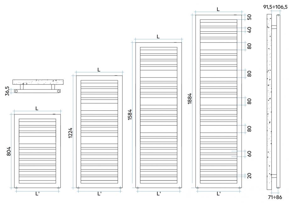 Pagina 1 - CAD-PDF Calorifer baie VON LORCH Detaliu de produs Oddo